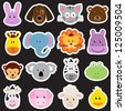 Vector Zoo Animal Sticker Collection - stock photo