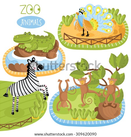 Vector Zoo Animals. Funny cartoon animals. Cartoon characters. Zebra, crocodile, peacock and monkey. Each animal in nature. Childish set for book, web elements. Summer season. Vector illustration. - stock vector