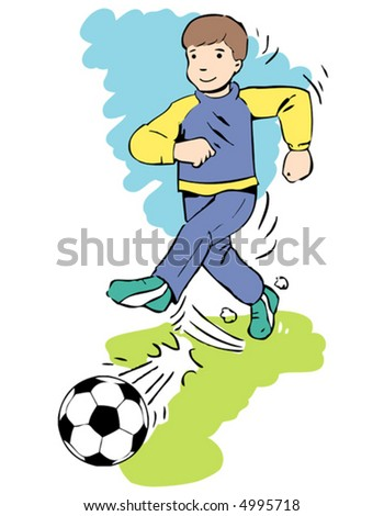 vectored illustration of young football player...easy editable about changing color...
