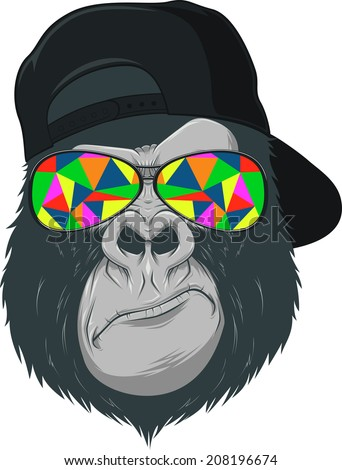 Vectorial illustration, funny monkey with glasses - stock vector