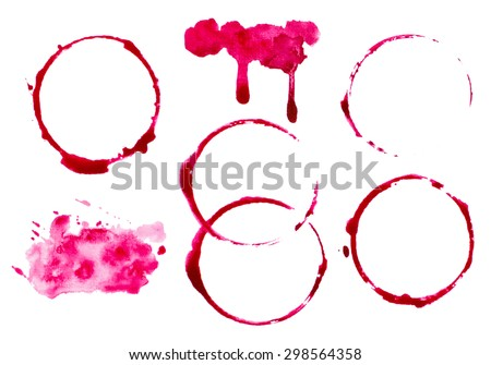 vectorized abstract wine splashes and blots set. elements are grouped separately