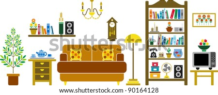 vectorized living room - stock vector