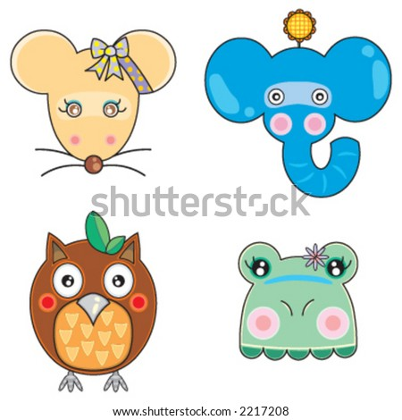 Vectors cute animals face 04 - stock vector