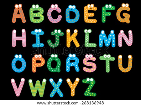 vectors of alphabet on black background