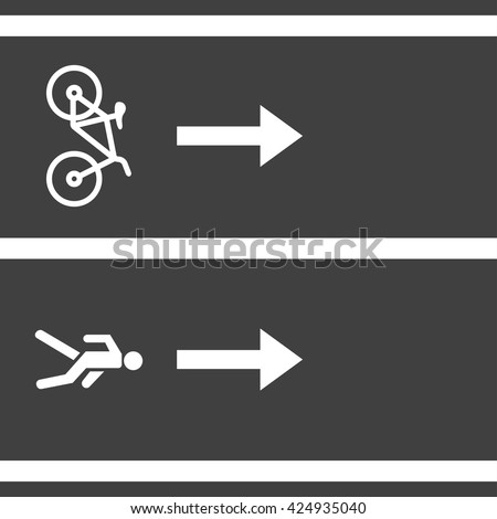 Vectro bicycle and pedestrian paths. Walking path and bike path - stock vector