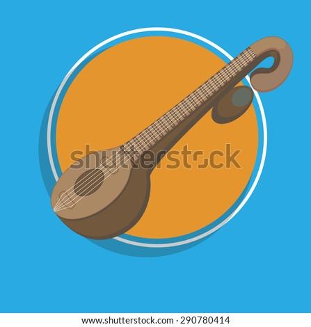 Veena - Indian Music Instrument Vector - stock vector