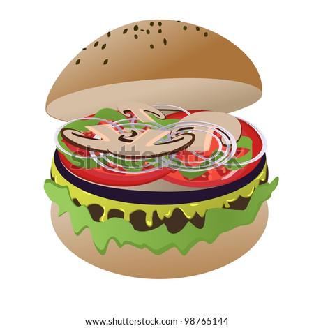 Vegan burger isolated on white - stock vector