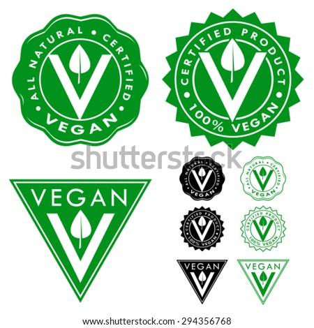 Vegan Certified Seal Icon Set - stock vector