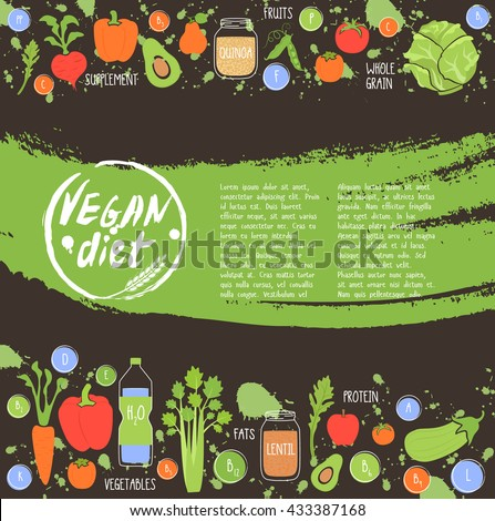 Vegan diet. Healthy food background fresh vegetable and fruit vector illustration. Vegetarian menu elements. Natural food concept.
