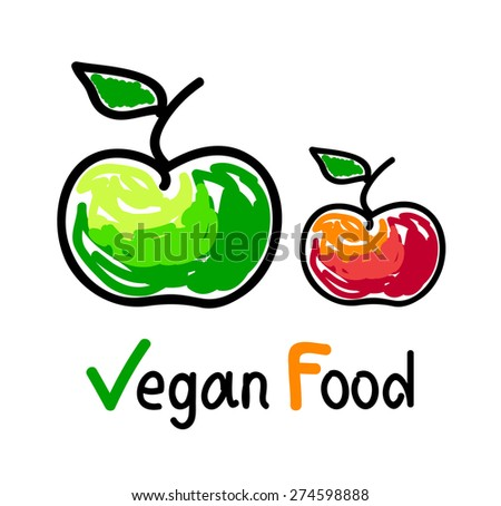 Vegan food emblem with green and red apple fruit icons - stock vector
