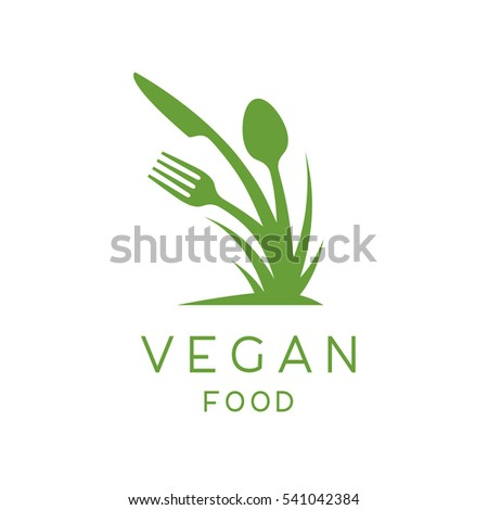 Vegan food logo of concept abstract green growing plant with fork, knife and spoon icon. Vector illustration.