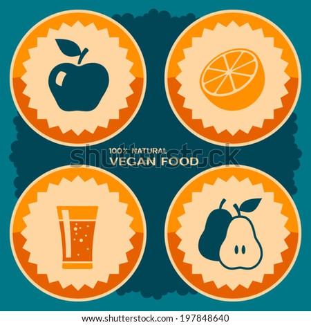 Vegan food poster design - stock vector