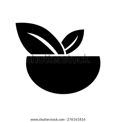Vegan Food Vegetable Salad Bowl Symbol Stock Vector 276161816