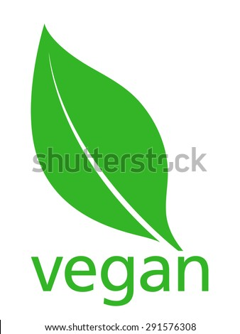 Vegan Logo with a single fresh green leaf above lowercase text - vegan - on a white background, simple stylish vector illustration - stock vector