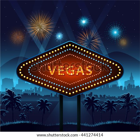 Vegas city sign at night and city background with lights and fireworks - stock vector