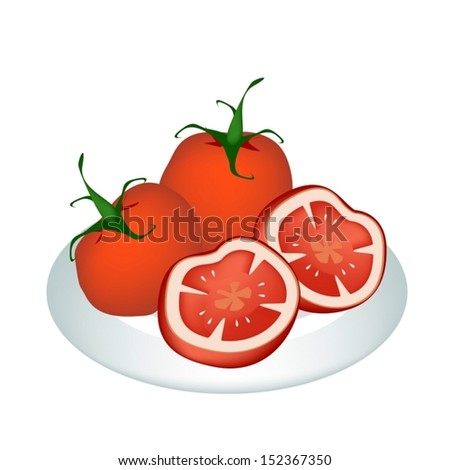 Vegetable, An Illustration of Fresh Ripe Red Tomatoes and Tomatoes Cross Section on A Beautiful white Dish