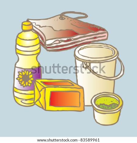 vegetable and animal oils and fats - stock vector