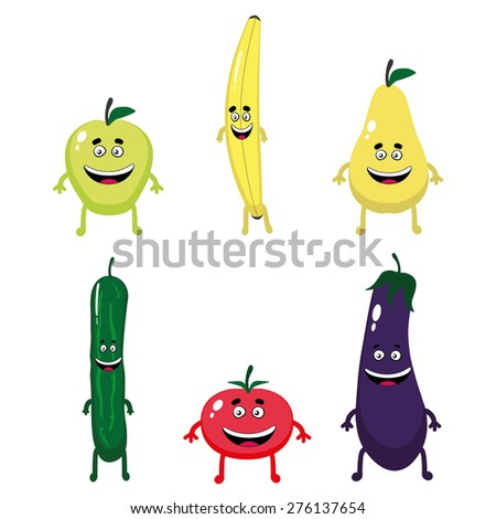 Vegetable and fruit characters - stock vector