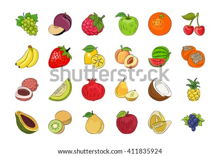 Vegetable and Fruits Hand Drawn Colored Vector Icons 2 - stock vector