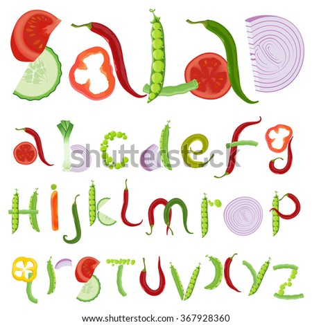 Vegetable and salad vector typeface.