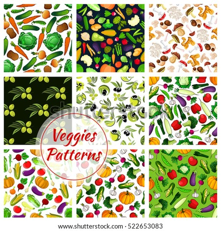 Vegetable, fruit and mushroom seamless patterns with tomato, olive, pepper, broccoli and carrot, eggplant and onion, cabbage, pumpkin, garlic and porcini, radish and potato. Food theme design