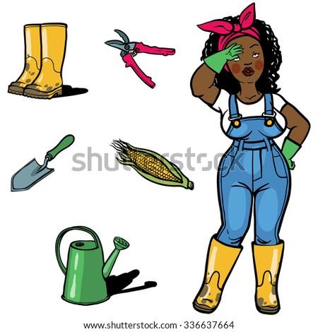 Vegetable gardener cartoon character sign ang garden tools. A cartoon woman gardener tired after work in garden  standing with their garden tools. Gardening icons set. Vector illustrations. - stock vector