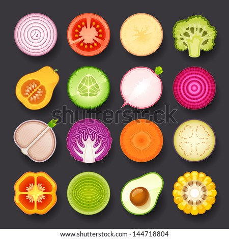 vegetable icon set - stock vector
