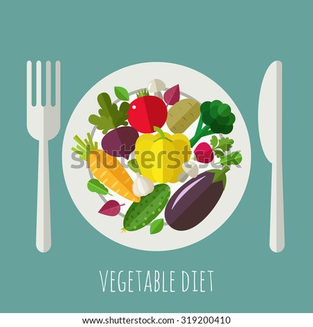Vegetable menu banner. Healthy food and dieting concept. - stock vector