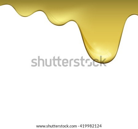 Vegetable oil falling down in white background. Vector cookery, healthy food.  - stock vector