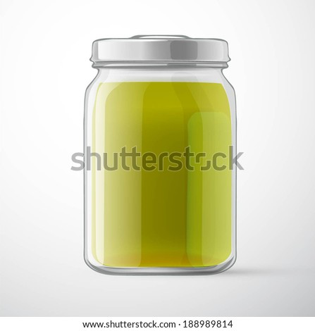 vegetable puree in a glass jar for new design - stock vector