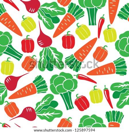 vegetable seamless pattern. vector illustration - stock vector