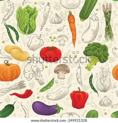 Vegetable seamless pattern with lot of vegetables - stock vector