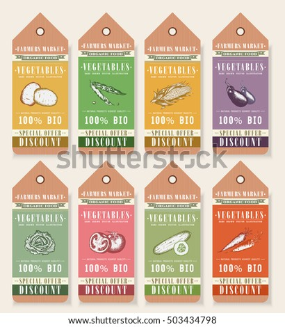 Vegetable Seeds Packets Template. Vegetables Tags Design Elements Organic  Eco Food Vintage Vegetable Collection Vector