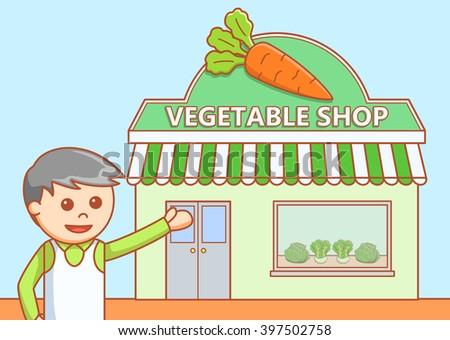 Vegetable shop  doodle illustration - stock vector