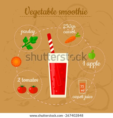 Vegetable smoothie recipe. Menu element for cafe or restaurant with energetic fresh drink. Fresh juice for healthy life. - stock vector