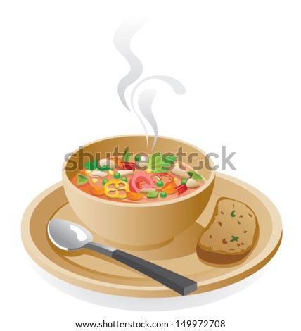 Vegetable soup - stock vector