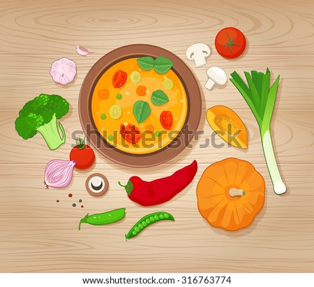 Vegetable Soup and Ingredients on Wooden Background. Top view - stock vector