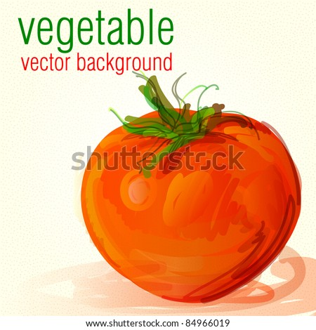 Vegetable tomato vector background - stock vector
