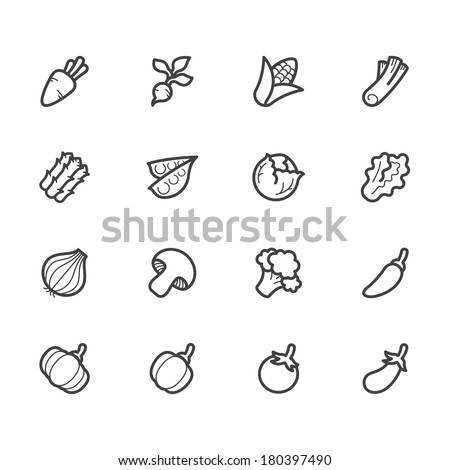 vegetable vector icon set on white background - stock vector