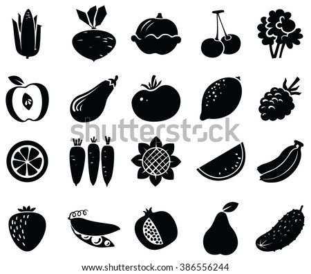 Vegetables and fruits black icons set - stock vector