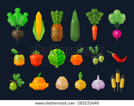 vegetables and fruits, fresh food icons set. collection of elements - radishes, corn, pineapple, carrot, persimmon, cabbage, oranges, olives, hot peppers, potatoes, onions, garlic, wheat, zucchini - stock vector