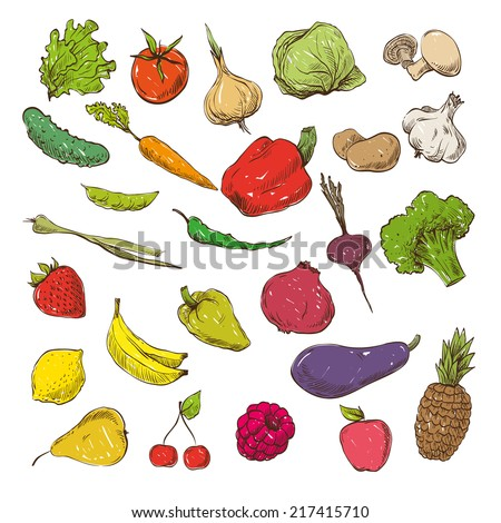 Vegetables and fruits hand drawn, vector illustration - stock vector