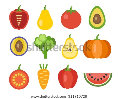 Vegetables and fruits icons. Organic food, vector illustration - stock vector