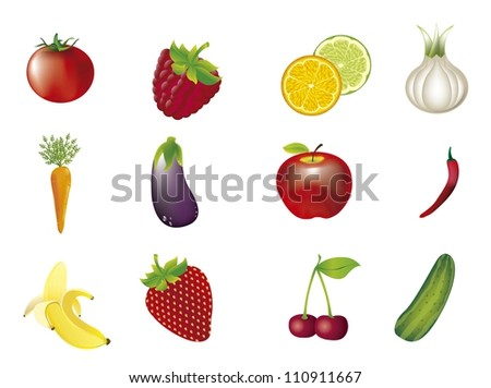 vegetables and fruits isolated over white background. vector