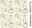 Vegetables and fruits seamless pattern 2 - stock photo