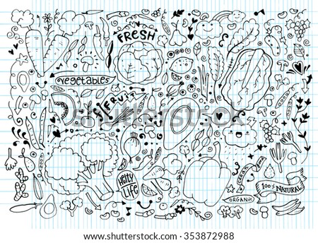 Vegetables and fruits Set hand drawn doodle. Vector illustration