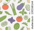 vegetables and herb seamless pattern - stock vector