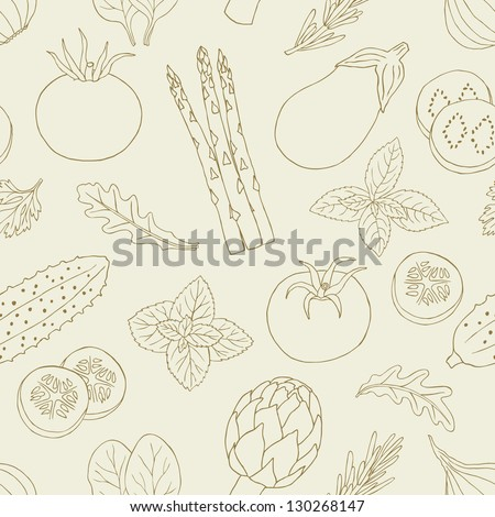 vegetables and herb seamless pattern