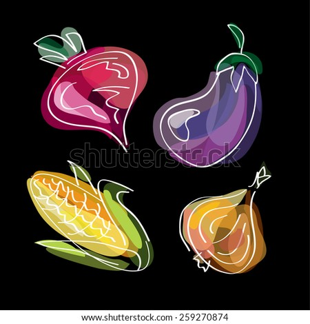 Vegetables: beet, onion, corn, eggplant. Paint style food design. Doodle background. Vector illustration. - stock vector