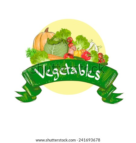 vegetables drawing set group with text banner vector illustration - stock vector